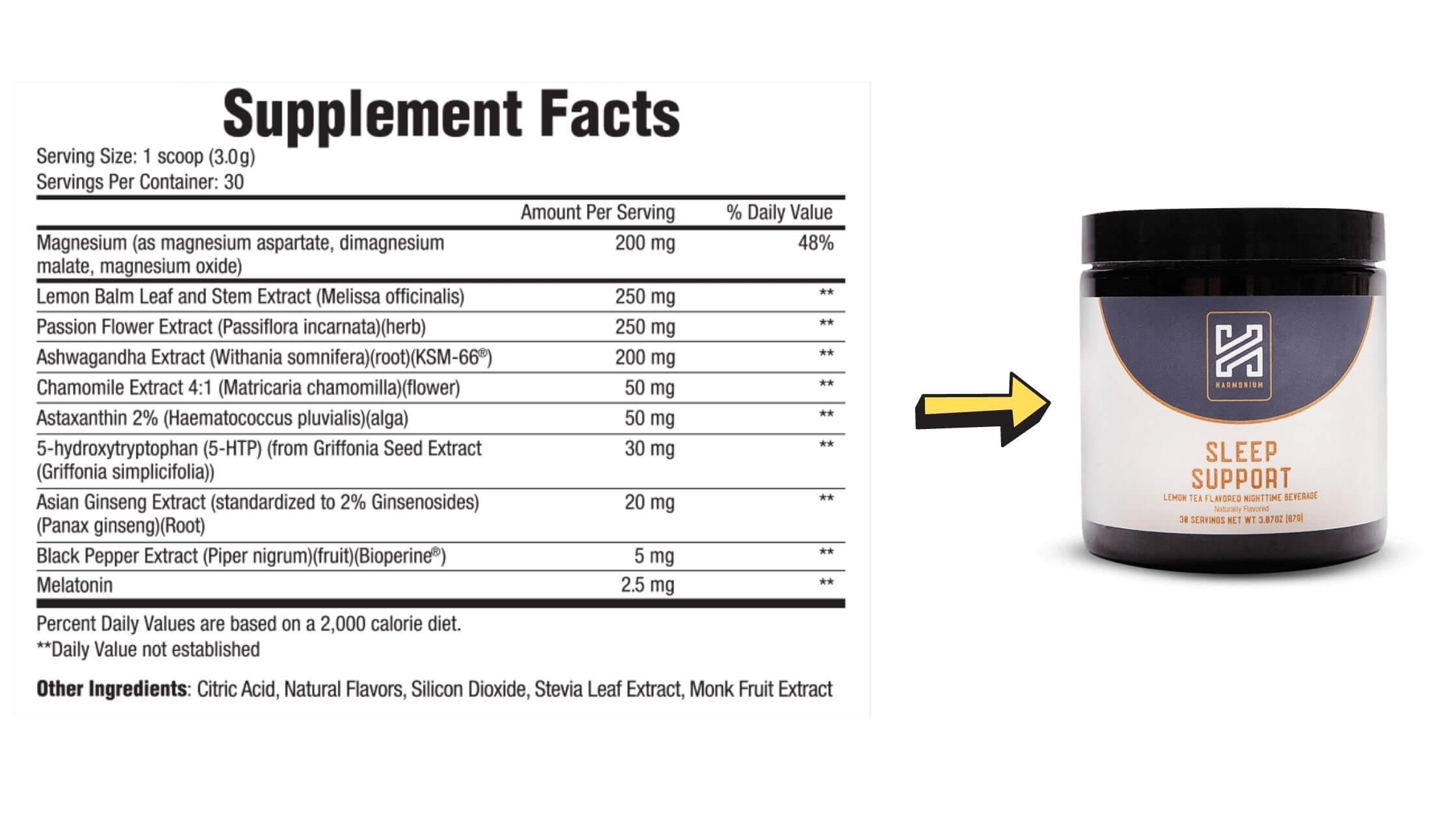 Harmonium Sleep Support Supplement Facts & Dosage