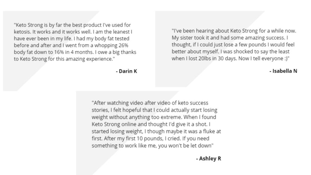 Keto Strong Customer Reviews