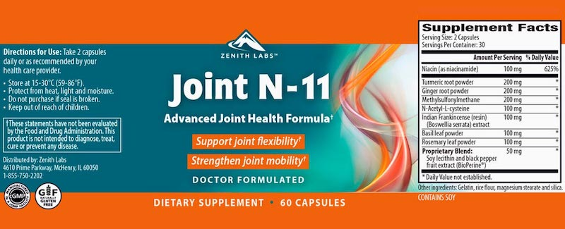 Joint N11 Dosages & Supplement Facts